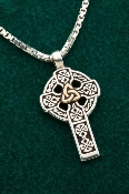 Mixed Metal Celtic High Cross (14K Gold & Sterling)
