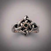 Four Elements Ring, Silver/14K/emerald