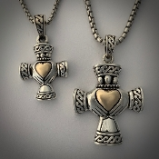 Cross of the Claddagh, Sterling/14K, sm