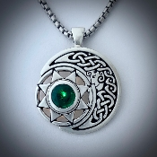 Celtic Moon Goddess & Sun Spirit with Faceted Emerald (lab grown)