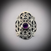 Spiral Harness Ring w/stones (amethyst)