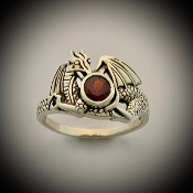 Guarded Treasure Dragon Ring, garnet